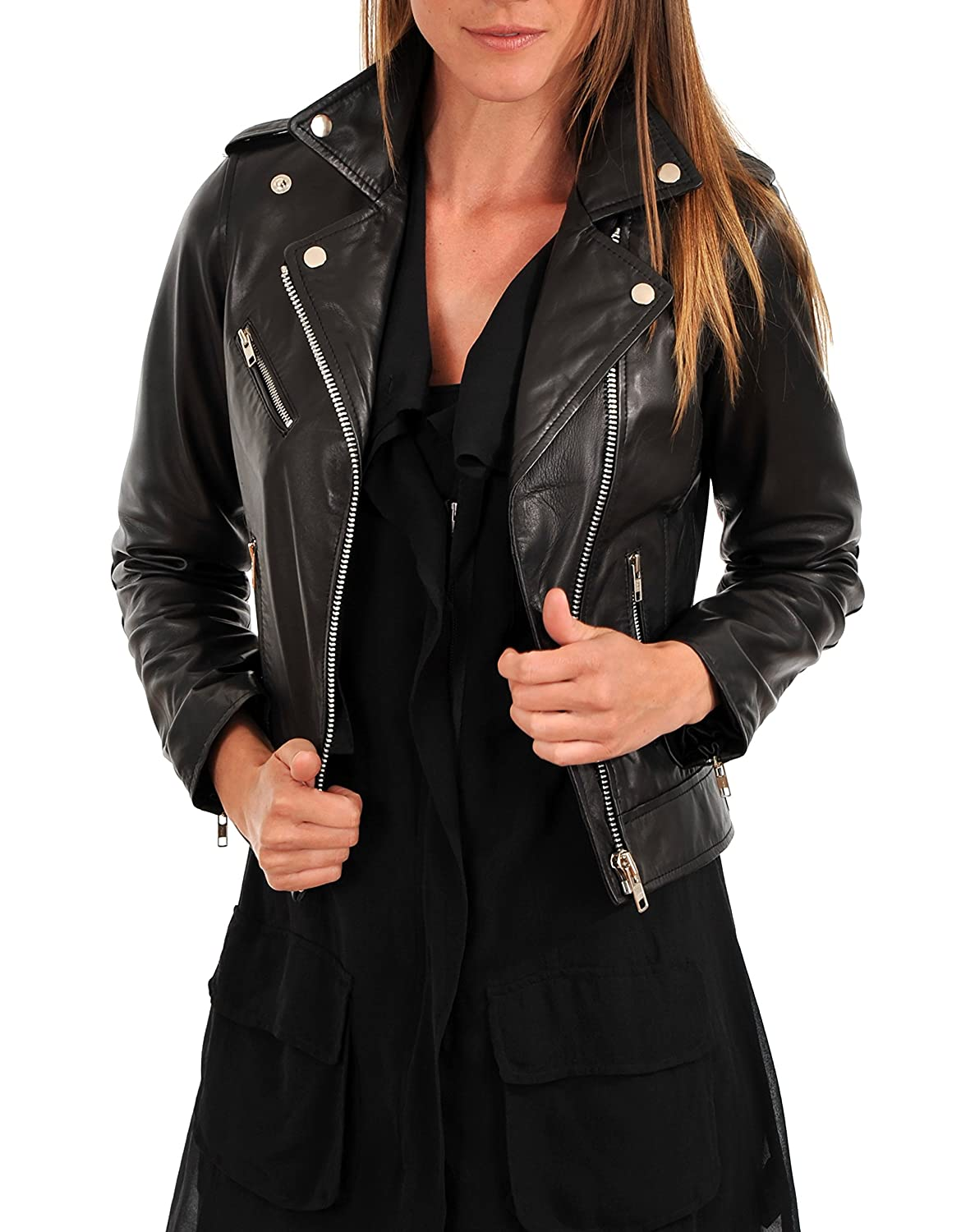 Black6fc DOLLY LAMB 100% Leather Jacket for Women  Slim Fit & Quilted  Moto, Bomber, Biker Winter Casual Wear