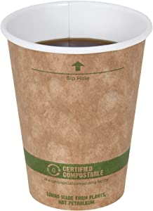 World Centric 100% Biodegradable, 100% Compostable Paper PLA-Lined 8 Ounce Kraft Coffee Hot Cup, 100 Pack