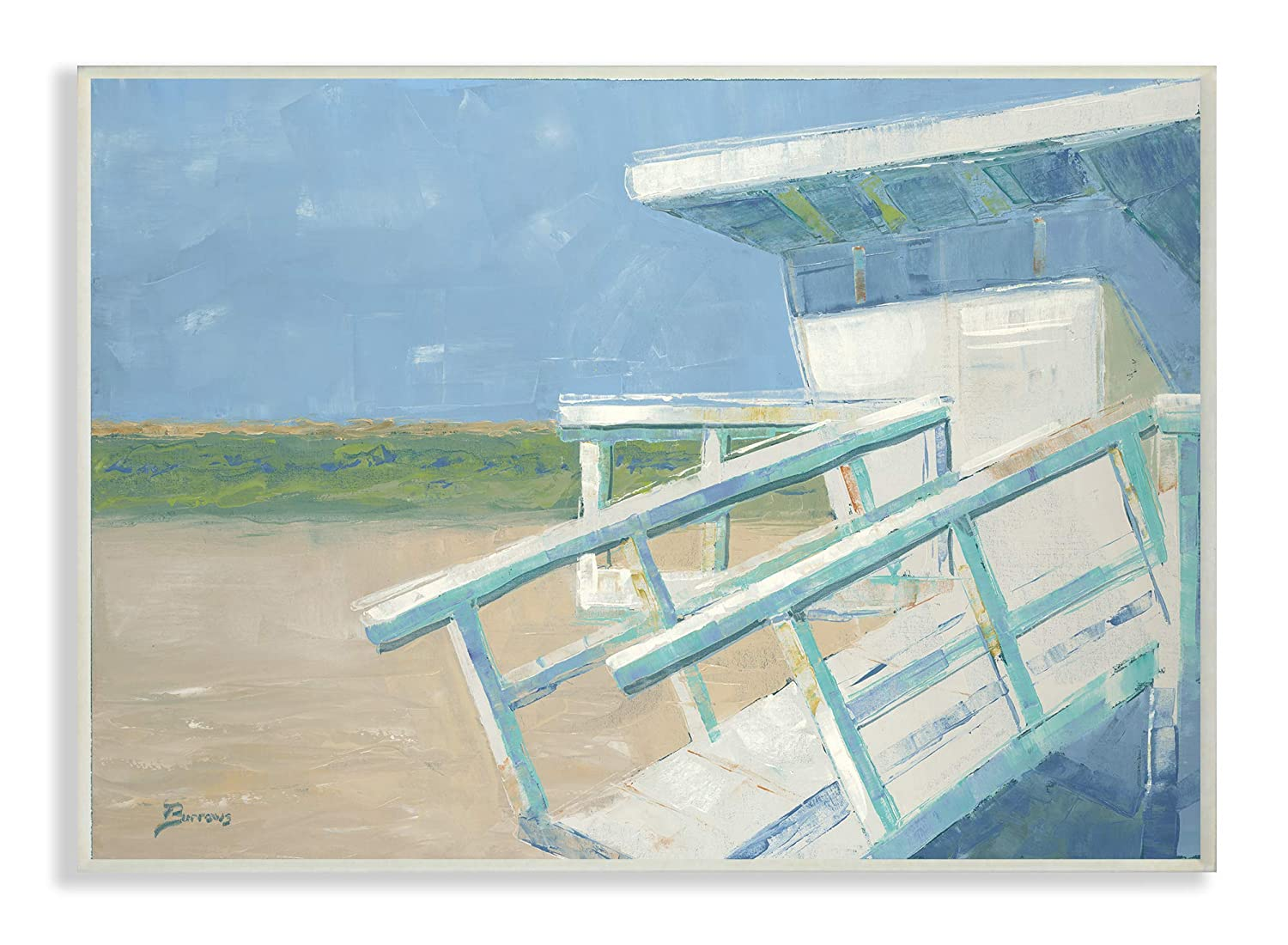 Multi-Color 10 x 15 The Stupell Home Decor Painterly Blue and Green Lifeguard House on The Beach Wall Plaque Art