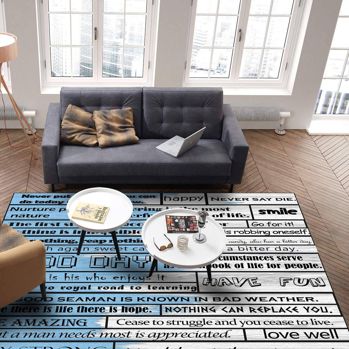 Amazon.com: OUR WINGS Modern Area Rug,Inspirational Phrase ...
