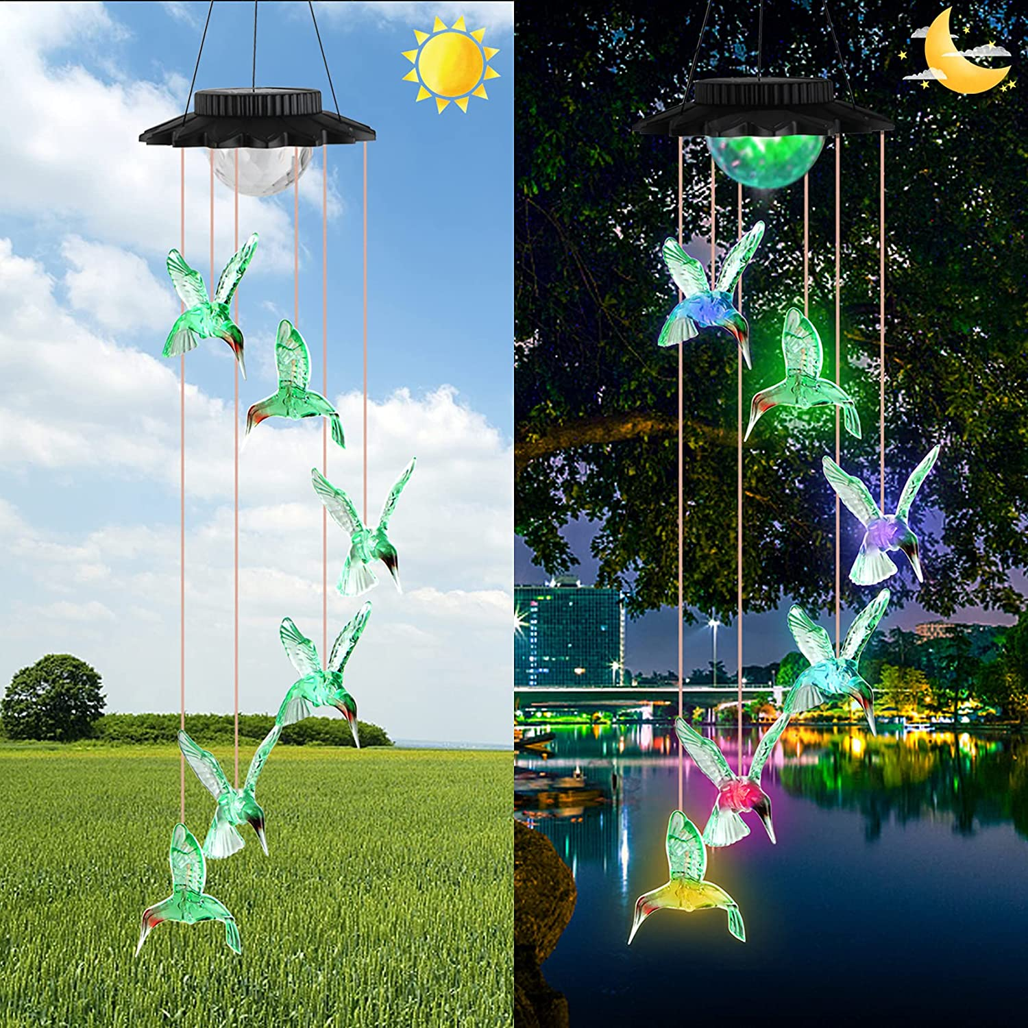 Jornarshar Hummingbird Solar Wind Chime, Color Changing Solar Wind Chimes, Gifts for Mother's Day, Waterproof Outdoor Decorative Wind Chime Light for Home Garden Patio Yard