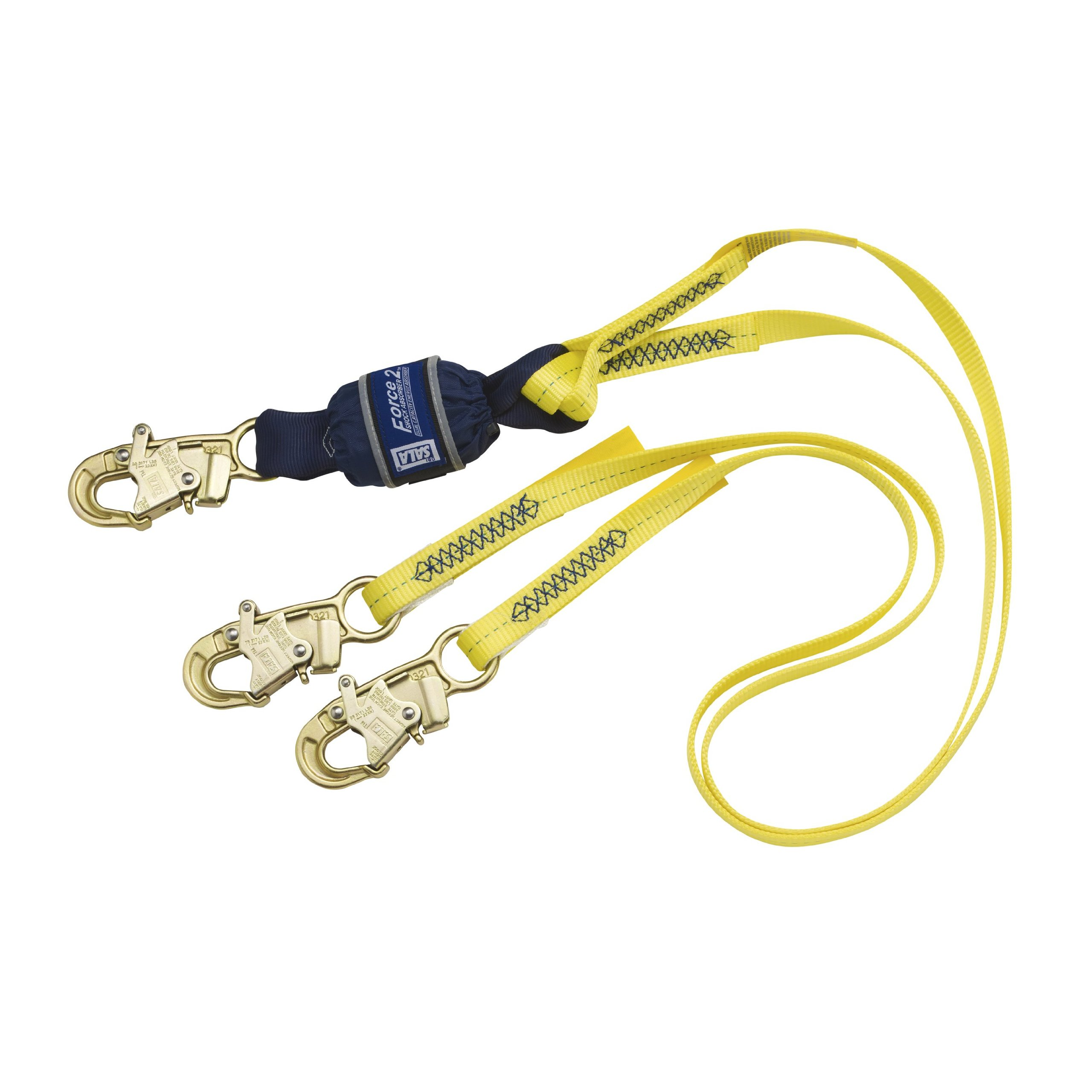 3M DBI-SALA Force2 1246161 Force 2 Shock Absorbing Lanyard, 6', with Snap Hooks At Each End, Yellow/Navy