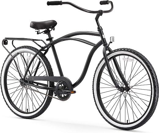 sixthreezero Around The Block Men's Beach Cruiser Bicycle OR eBike 250W and 500W Electric Bike, 24-Inch and 26-Inch