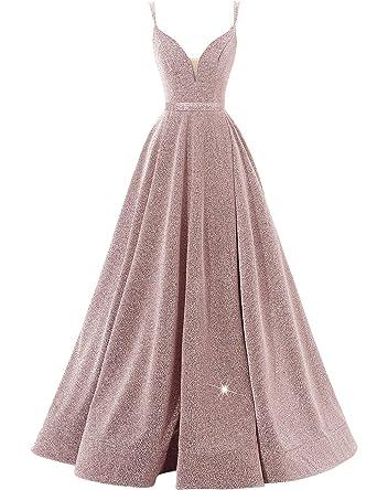 456168fe5e8 Women s Glittery Spaghetti V-Neck Prom Dresses Long Side Split Formal  Evening Gowns at Amazon Women s Clothing store