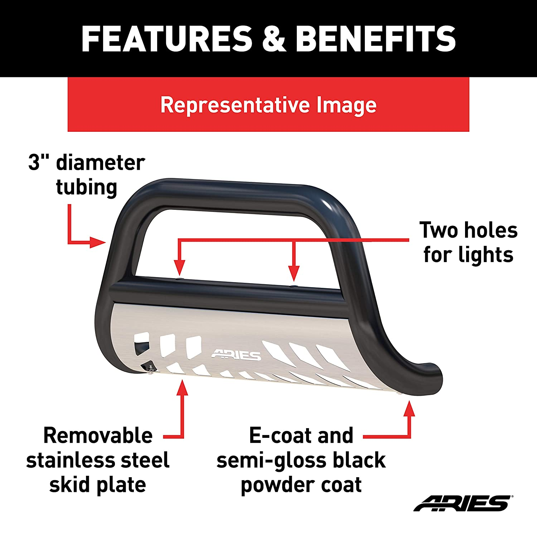 ARIES B35-9001 3-Inch Black Steel Bull Bar Select Nissan Armada Titan