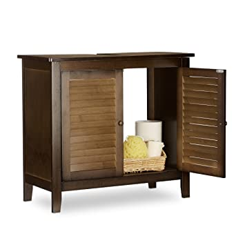 Relaxdays Lamell Dark Brown Under Sink Cabinet Bamboo Bathroom