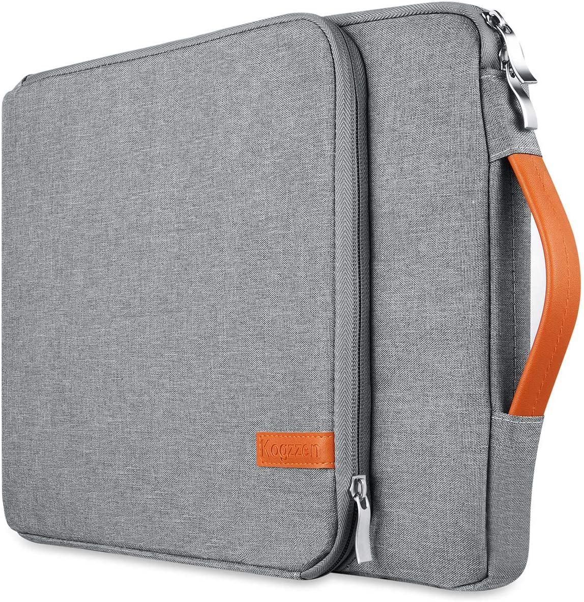 Kogzzen 13 13.3 13.5 Inch Laptop Sleeve Compatible with MacBook Air 13.3/ MacBook Pro 13/ Dell XPS 13/ Surface Laptop 13.5/ iPad Pro 12.9, HP Lenovo Asus Acer Chromebook Waterproof Case Bag - Gray