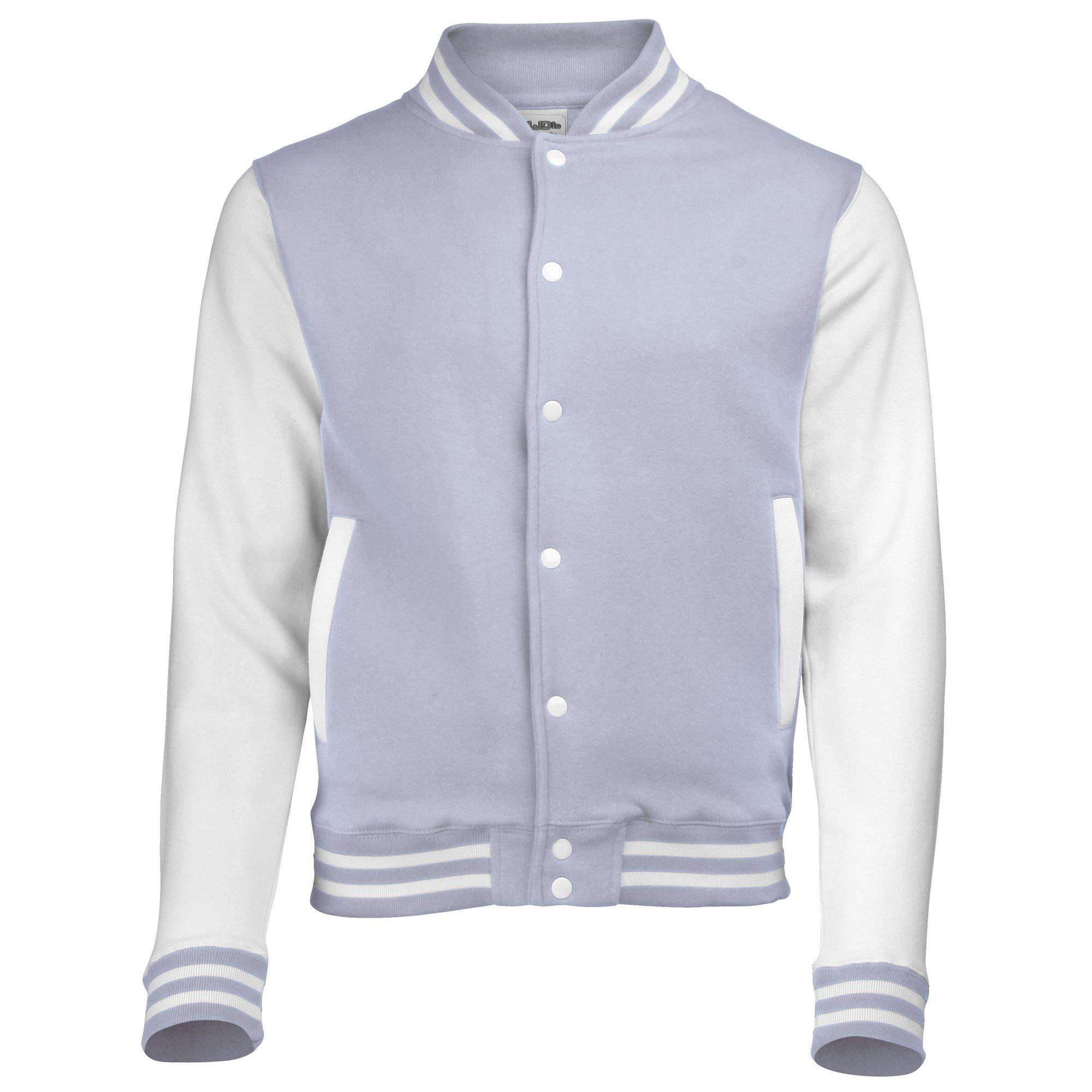 Awdis Unisex Varsity Jacket (M) (Heather Grey / White) by Awdis