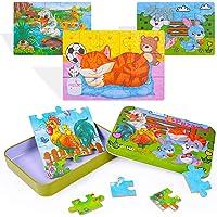 Yikky Rompecabezas de Madera Juguetes para Niños 3 4 5+ años, Paquete de 4 Piezas Puzzle Madera de Animales Coloridos…