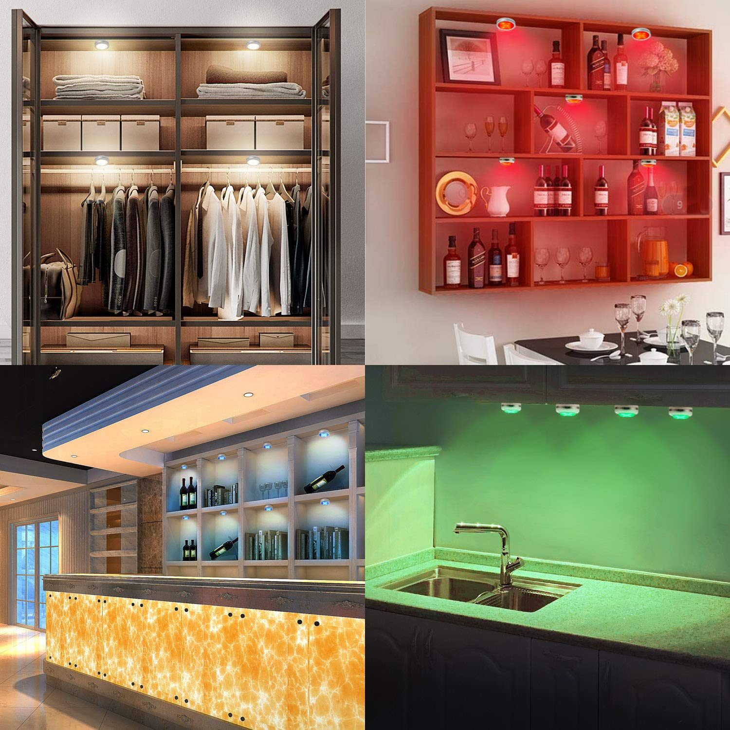 Lightess 9 Packs RGB Led Under Cabinet Lights Wireless Led Closet Lights Dimmable Wardrobe Lights Battery Powered LED Cupboard Light Remote Control Ambient Lights 4000K for Counter Kitchen Shelves