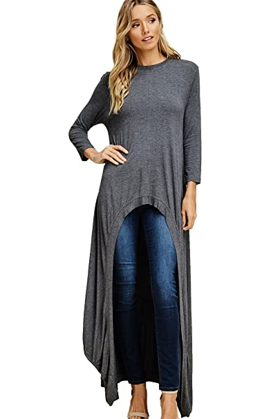 2c690541a49442 Annabelle Women s Round Neck Quarter Sleeves High Low Casual Long Maxi  Tunic Blouse Shirt Top Mid