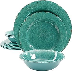 Gibson Studio Mauna 12 Piece Heavy Weight Melamine Dinnerware Set, Green