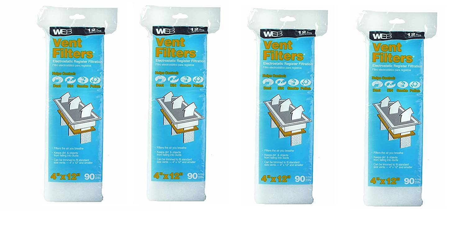 Vent Register Filters, Sold as 4 Pack