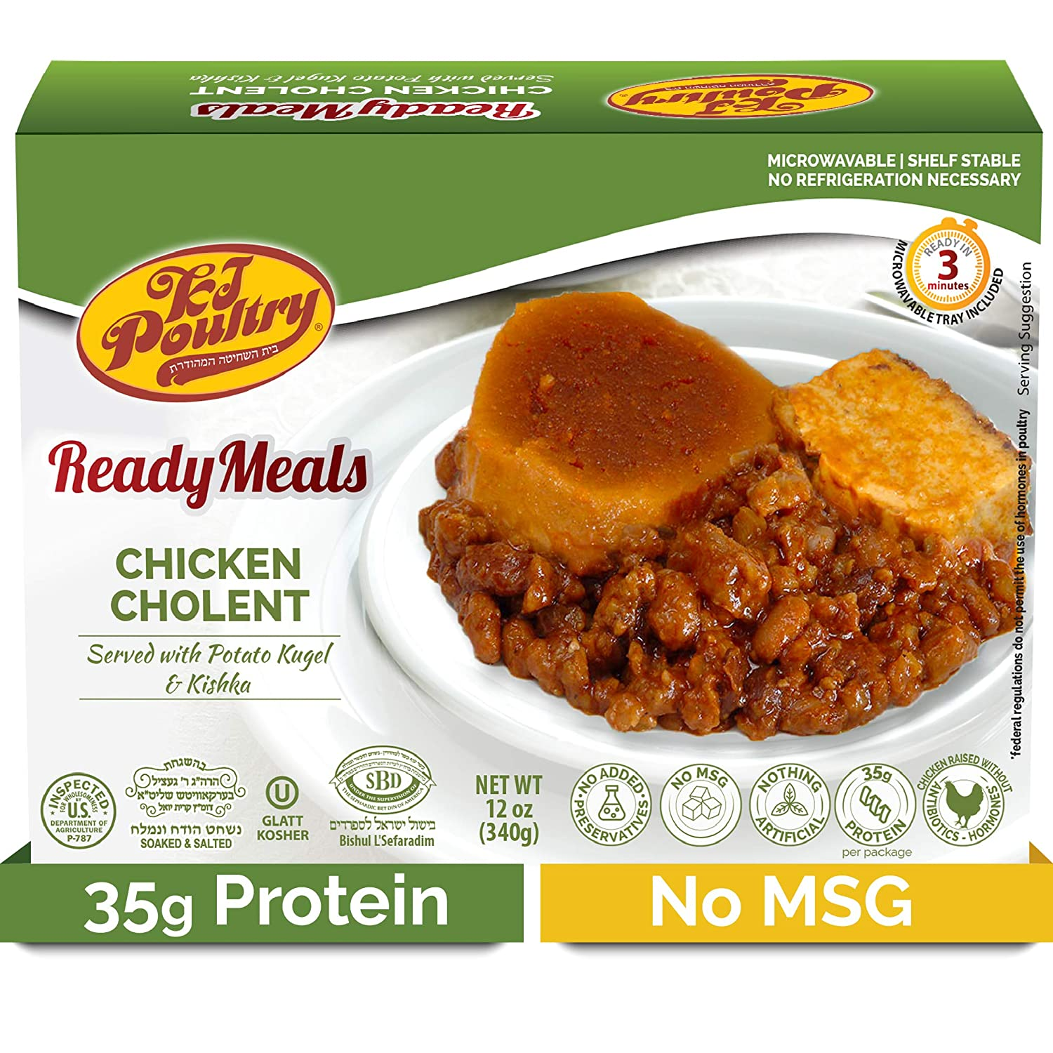 Kosher Mre Meat Meals Ready to Eat, Chicken Cholent (1 Pack) 35g Protien - Prepared Entree Fully Cooked, Shelf Stable Microwave Dinner – Travel, Military, Camping, Emergency Survival Canned Food Kit