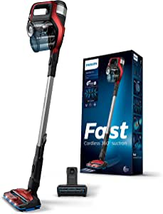 Philips Speed ProMax Stick Vacuum Cleaner FC6823/61, Twist Red, Fastest Cordless cleaning experience, 360° Suction Nozzle captures dust and dirt from all sides, PowerBlade Digital Motor.