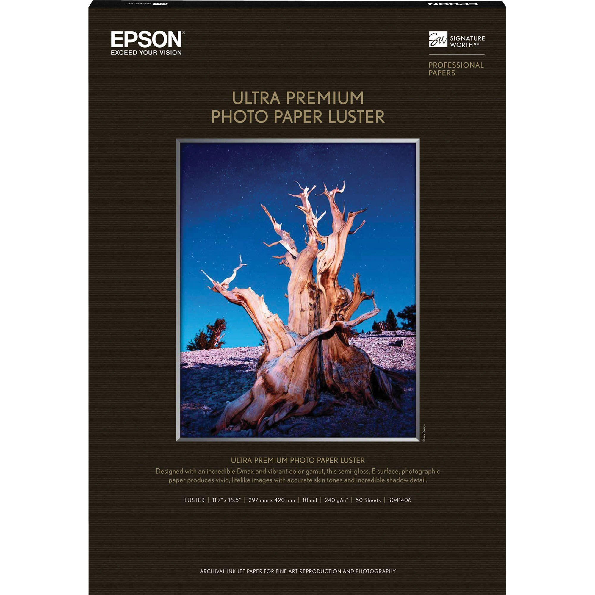 Epson Ultra Premium Photo Paper Luster, 11.7''x16.5'', 50 Sheets/Pkg, White (S041406)