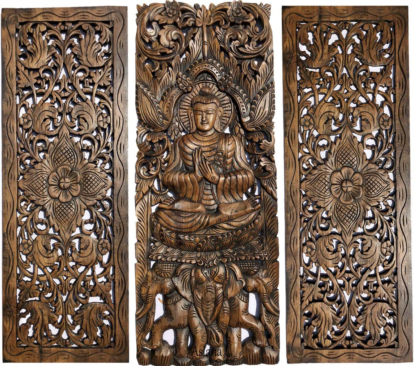 "Buddha and Floral Carved Wood Wall Decor Panels. Asian Home Decor in Brown Finish 35.5""x13.5 Each, Set of 3 Pcs"