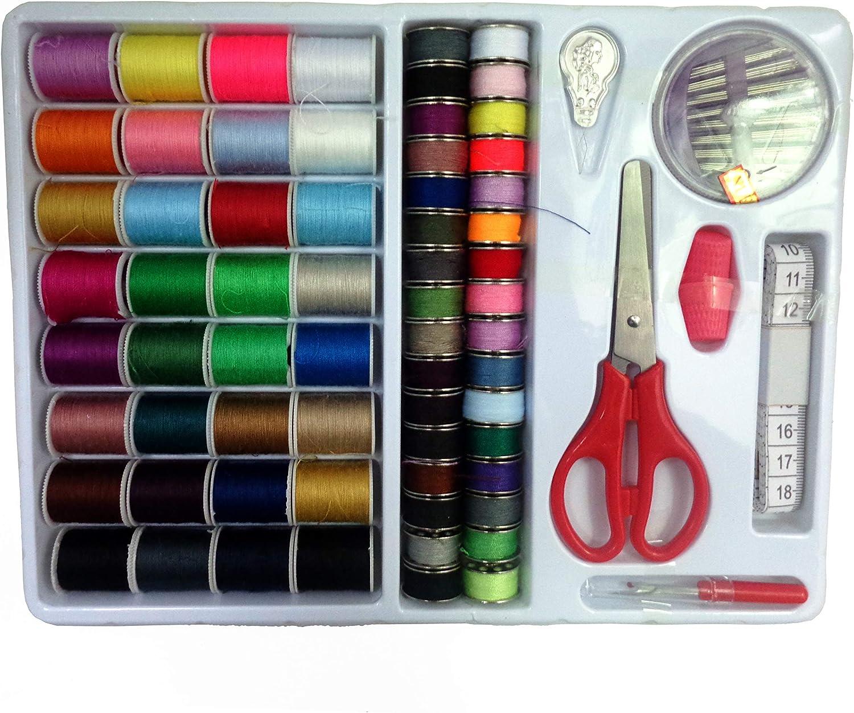 ISOTO - Juego de herramientas de costura 100 en 1, con surtido de bobinas de hilos para coser, accesorios para las máquinas de coser básicas, para llevar de viaje