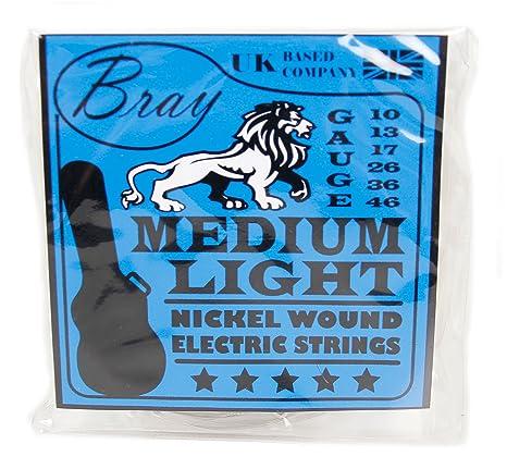 Bray Medium Light Níquel Wound Cuerdas para guitarra eléctrica (10-46) perfecto para
