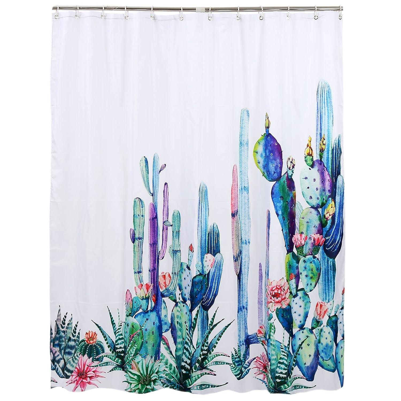 Upanfoo Cactus Fabric Shower Curtain 12 Hooks Bathroom Decor Water Repellent Mildew Resistant Succulent Floral Bath Decorations 71 X
