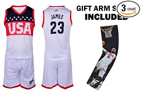 ... Womens WhiteBl new lower prices  28bb9 27295 Amazon.com Fan Kitbag  James Jersey Kids Lebron Basketball USA White James Jersey ... 6e7852f3b