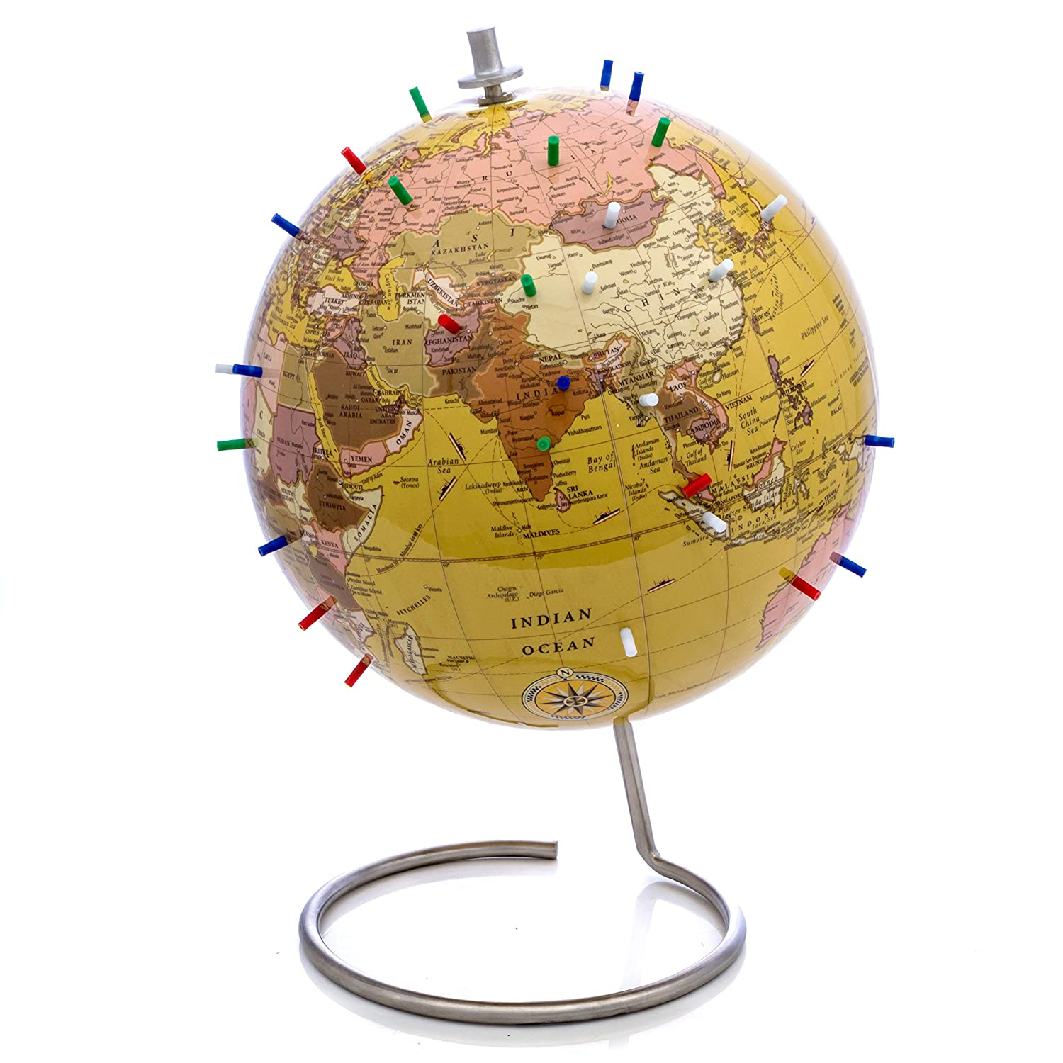 Perfect as Office Desk Globe Classroom Globe 10 Antique Tan Magnetic Standing World Globe with Magnetic Pins Bullseye Office Tan Magnetic World Globe or Travelers Globe