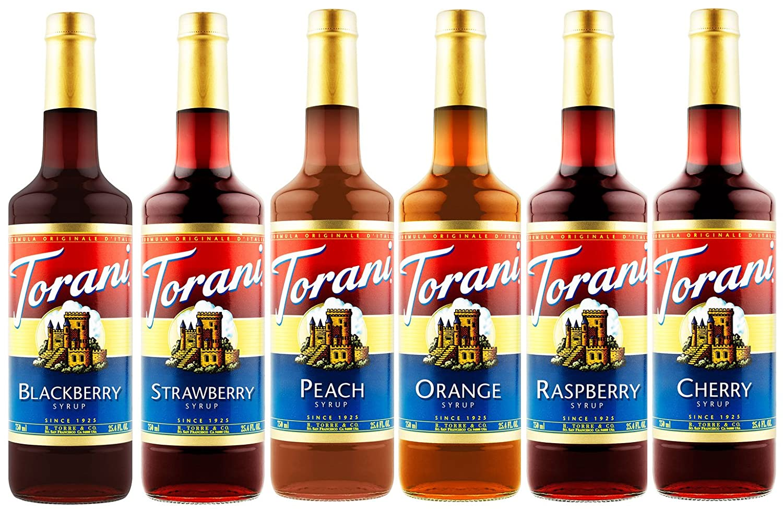 Torani Syrup Fruit Bowl 6 Pack, Raspberry, Strawberry, Blackberry, Cherry, Orange and Peach
