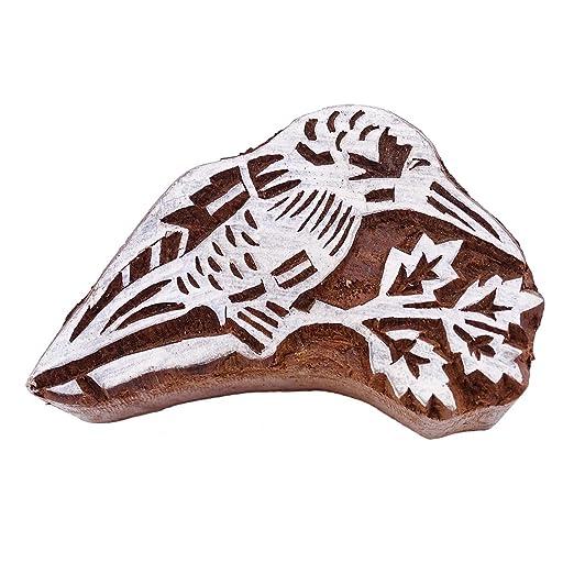 Madera Bloque de imprenta Bird mano del arte textil tallado ...
