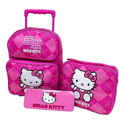 "Hello Kitty Preschool Medium 12"" Rolling Backpack Roller Wheeled Book Bag, Lunch Box & Pencil Case Set new"
