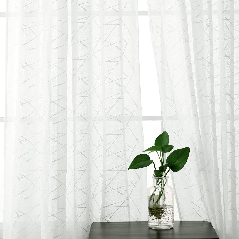 Doconovo Voilage Blanc Oeillet Enfants Voile Aspect Lin Brod/ée Geometrique Voilage de Fen/être 140x240cm Beige
