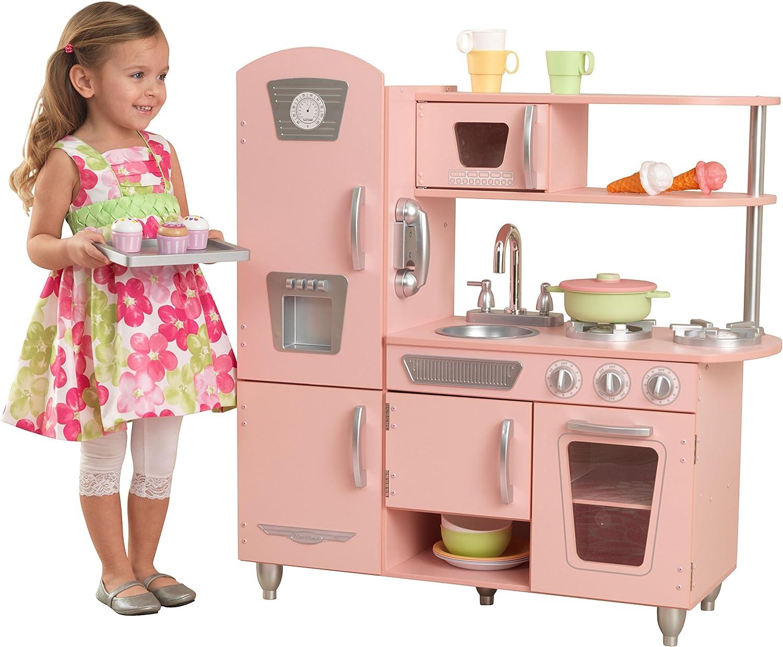 KidKraft 53179 - Cocina de juguete de madera vintage rosa para niños con teléfono incluido para juegos de dramatizaciòn , Color Rosa