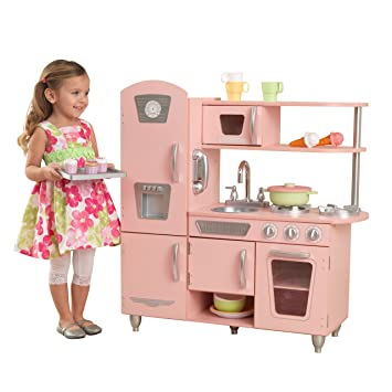 kidkraft 53179 pink vintage wooden pretend play toy kitchen for kids with role play phone included - Kitchen For Kids