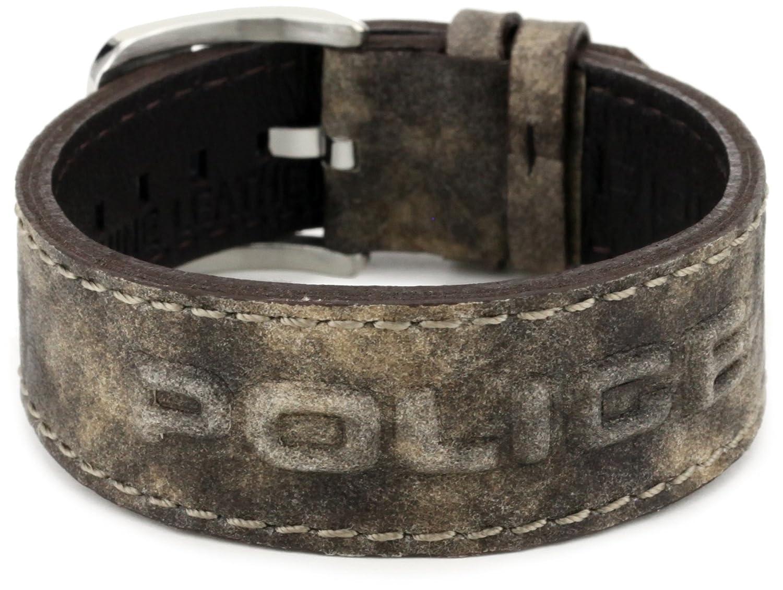 Police VEGAS Brown Leather Bracelet with 3D Police Logo