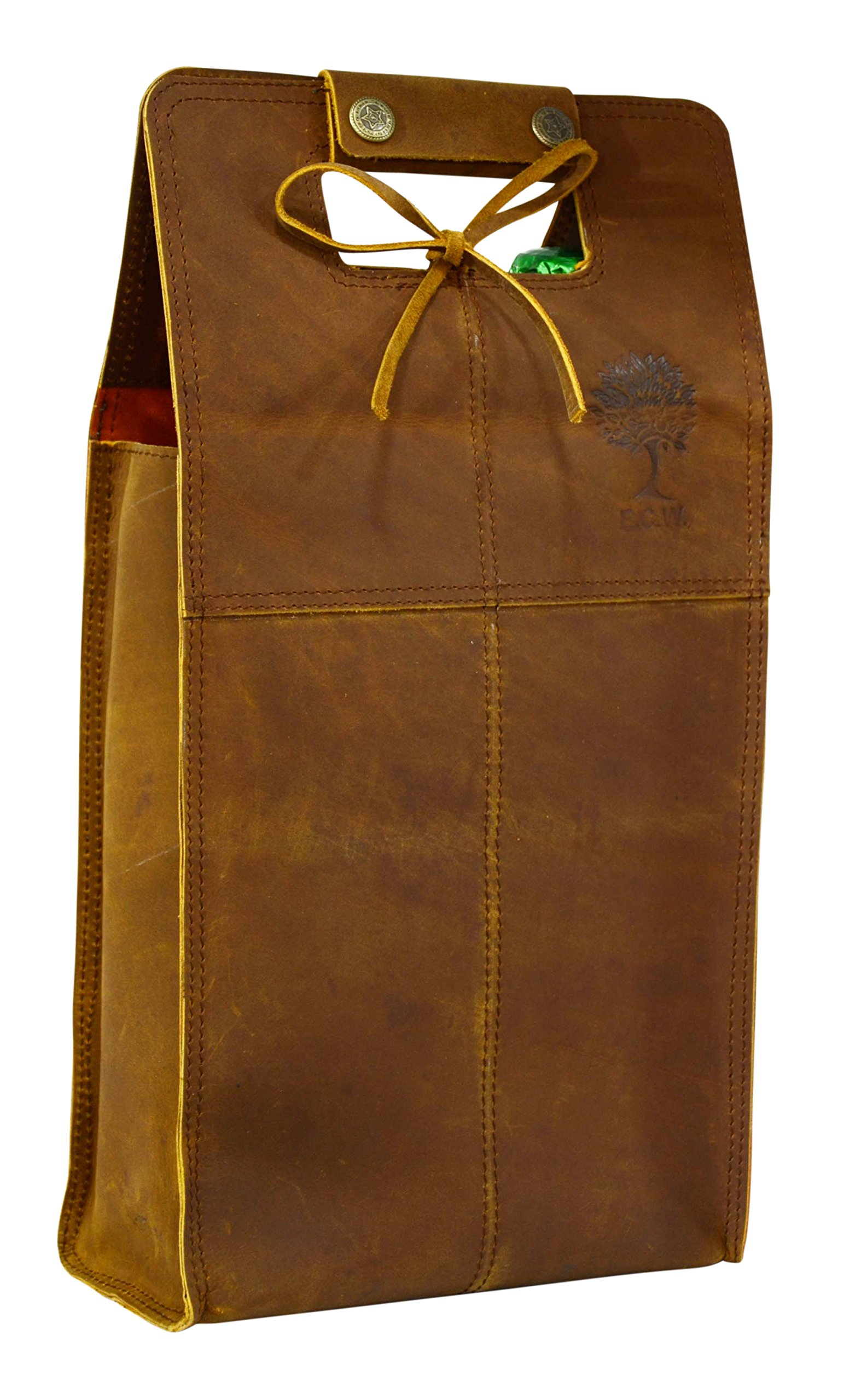 Double Wine Bottle Carrier Bag Leather Bottle Holder Tote Reusable Gift Bag Champagne Case, Valentines Gift Bag by ECOCRAFTWORLD (Image #5)