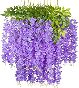 Myselfly 12 Pieces Artificial Silk Wisteria Flower Hanging Silk Vine Rattan Fake Bush Flower for Home Party Wedding Garden Outdoor Greenery Decoration 3.67 Feet (Purple)