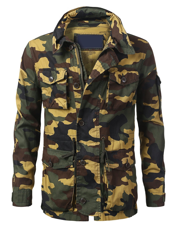 URBANCREWS Mens Hipster Hip Hop Basic Button up Field Jacket Woodland, 2XL