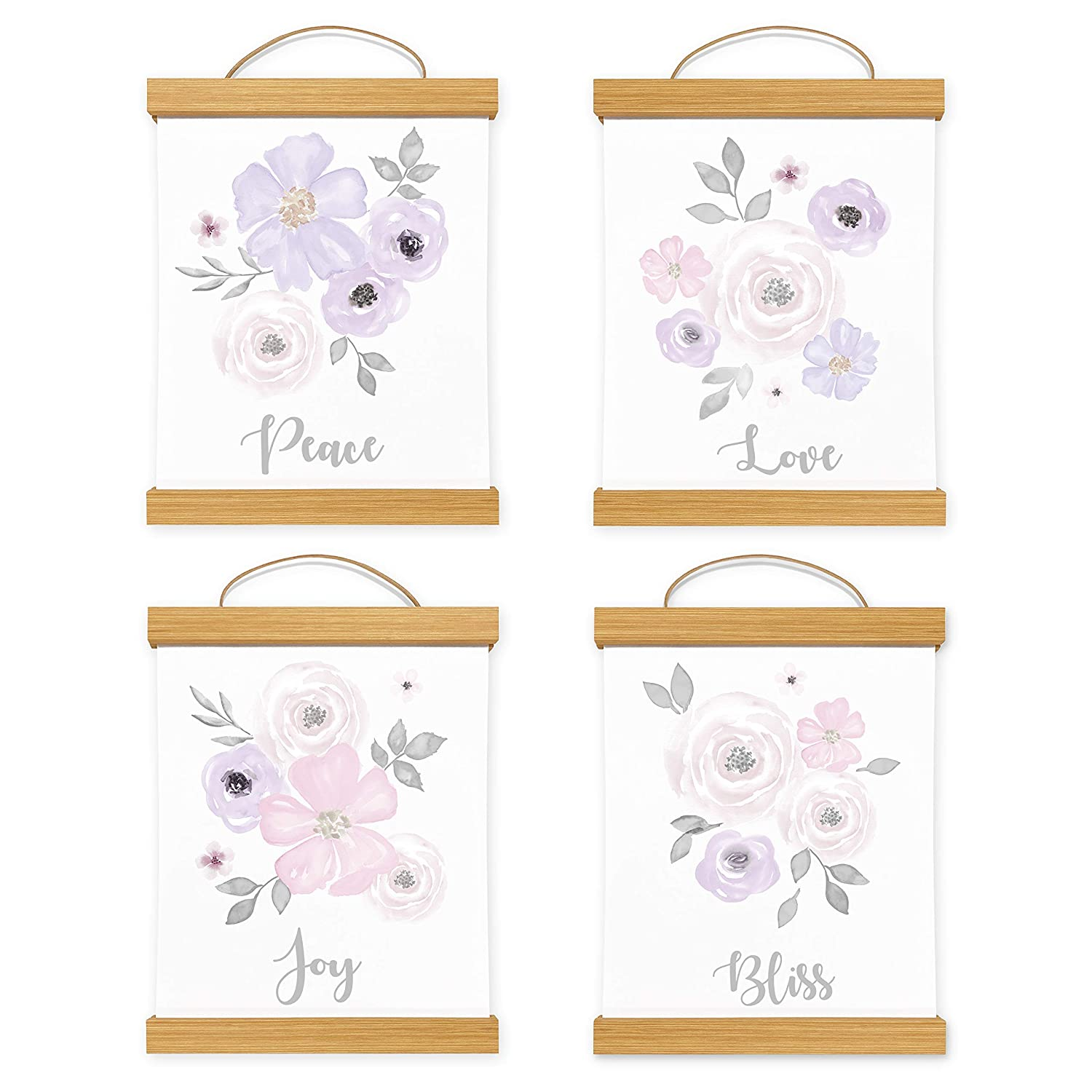 Framed Sweet Jojo Designs Lavender Purple Pink Grey White Wall Art Prints Room Decor Baby Nursery Kid Watercolor Floral Collection - Set of 4 - Peace Love Joy Bliss With Wooden Hanging Magnetic Frames