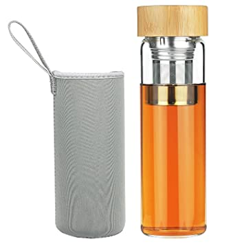 FCSDETAIL Botella de Agua de Vidrio de Borosilicato con Filtro de Té y Tapa de Bambú