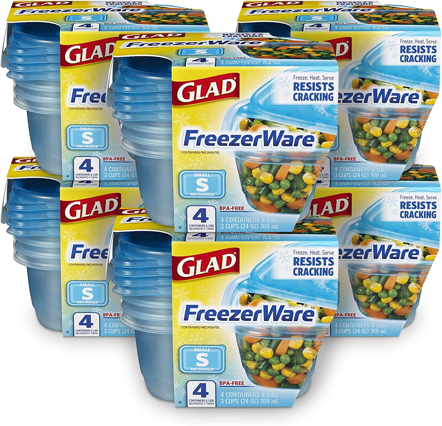 Glad Freezerware Food Storage Containers, Small Rectangle (24 Oz) -4 Count