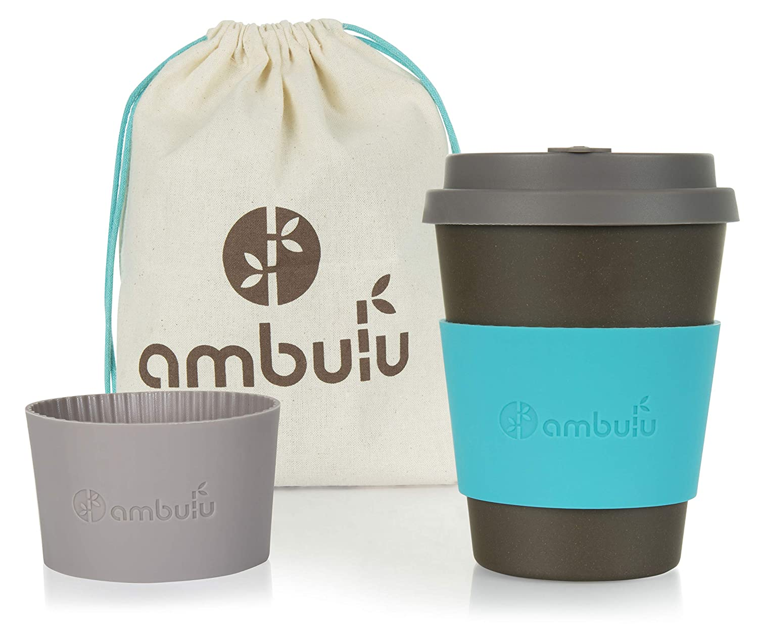 Reusable Coffee Cup for Travel To Go 12oz | Portable Bamboo Mug with Lid, 2 Sleeves, Carry Bag | Plastic and BPA Free | Dishwasher Safe Eco Cups 350ml