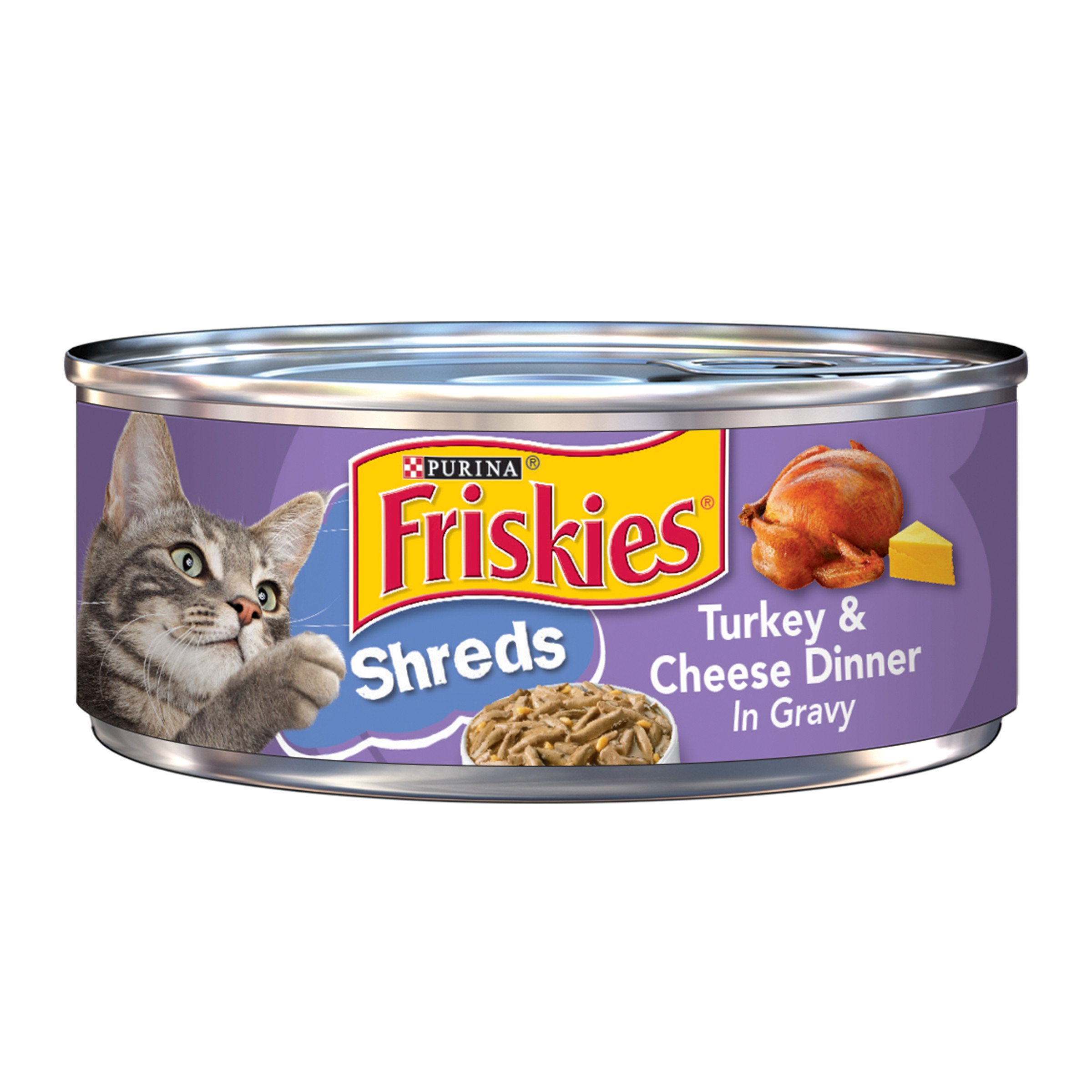 Friskies Wet Cat Food, Savory Shreds, Turkey & Cheese Dinner in Gravy, 5.5-Ounce Can, Pack of 24