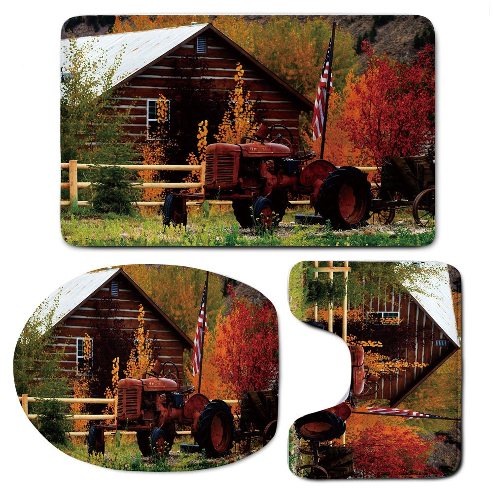 3 Piece Bath Mat Rug Set,Fall,Bathroom Non-Slip Floor Mat,Rustic-Cabin-with-Rusty-Tractor-Country-Cottage-House-Seasonal-Colors-US-Flag-Loyalty,Pedestal Rug + Lid Toilet Cover + Bath Mat,Multicolor