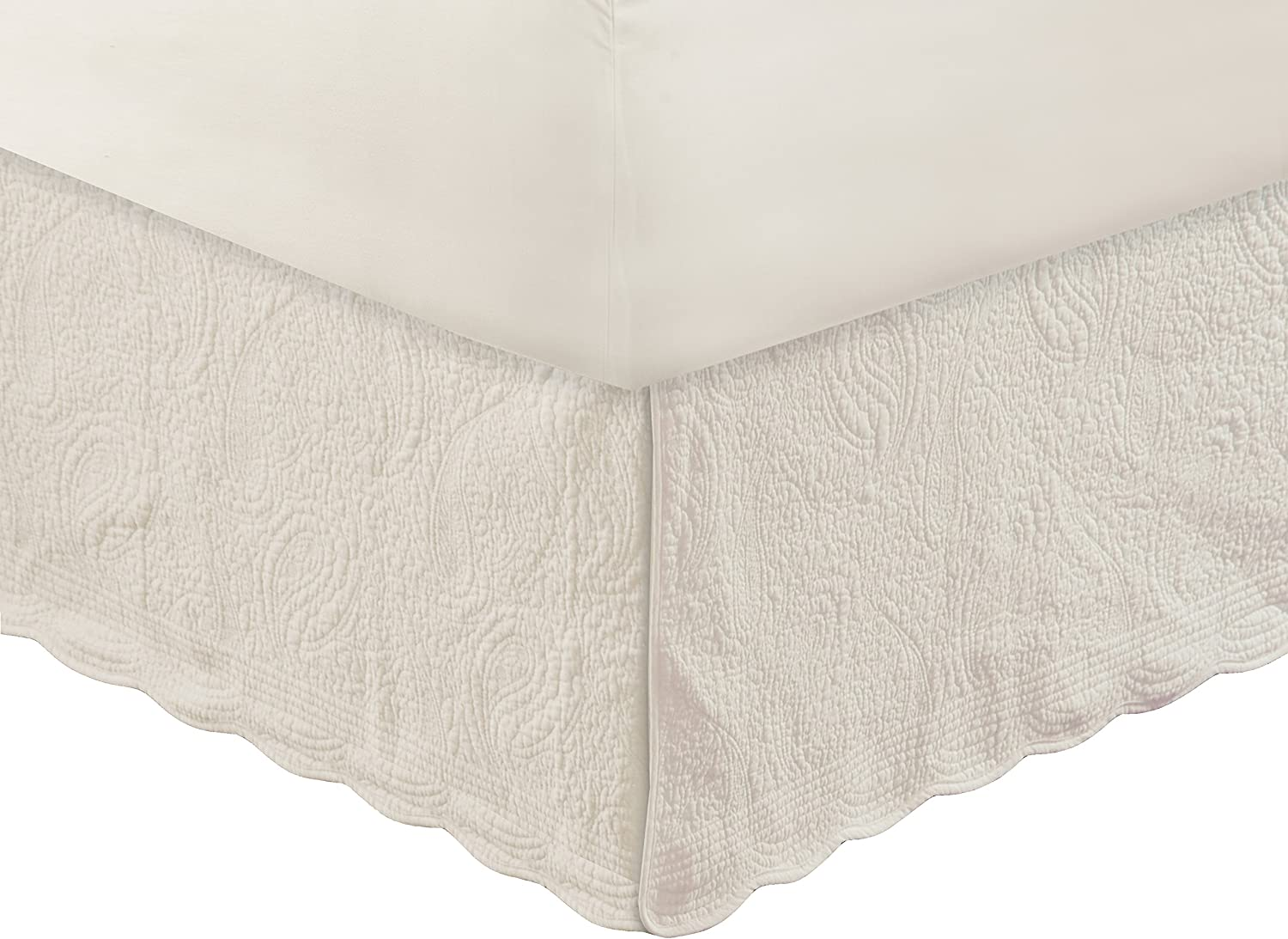 Greenland Home Paisley Quilted Bed Skirt, Ivory, King