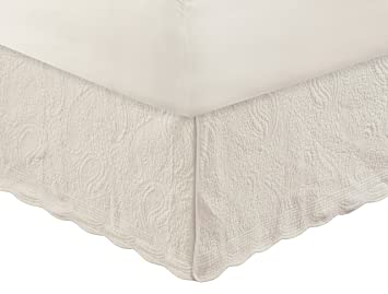 Greenland Home Paisley Quilted Bed Skirt, Ivory, Twin