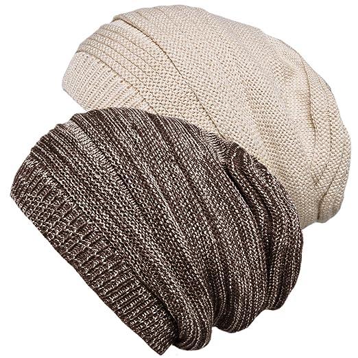 Senker 2 Pack Slouchy Knit Beanie Cap Soft Cozy Oversized Hats for Women  and Men Khaki 412b29e618