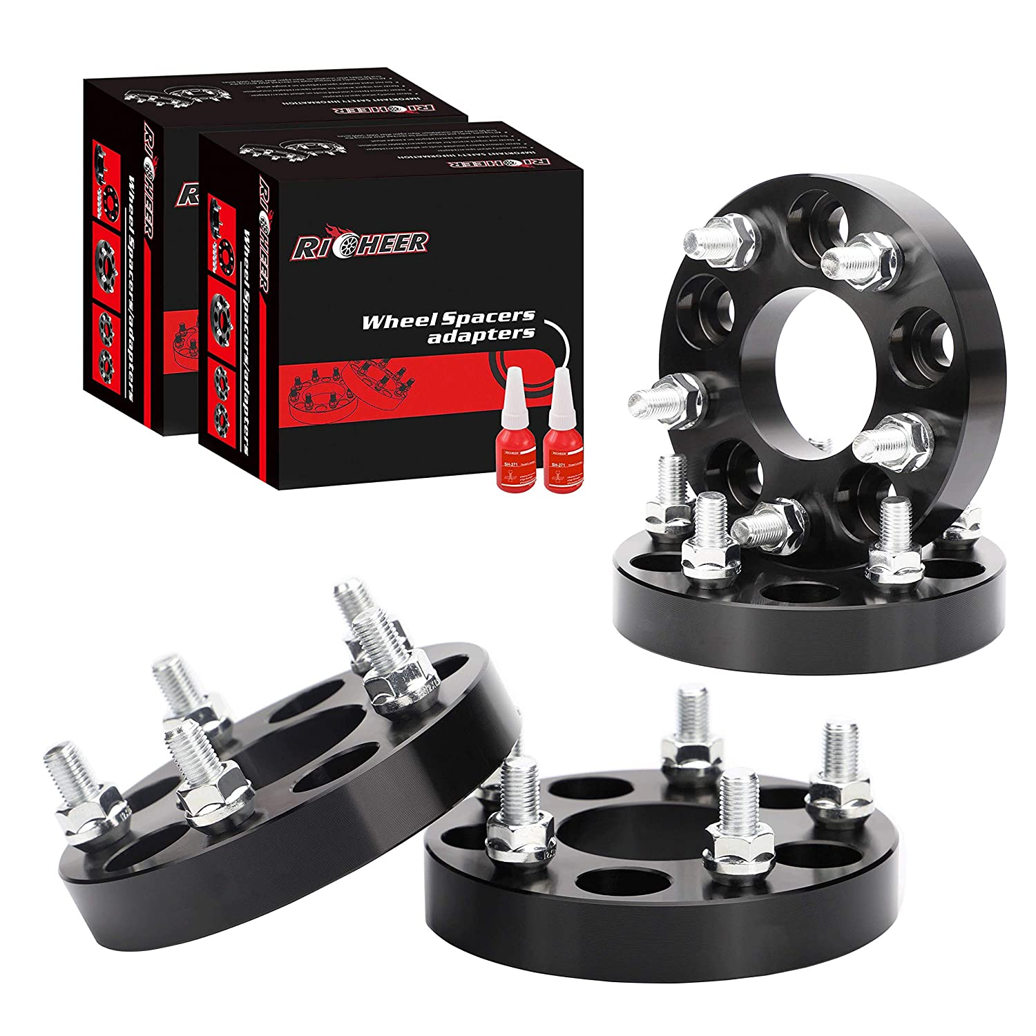 Ford Explore Mustang Ranger-82.5mm hub bore 1//2 Stud Richeer 4 PCS 1 Inch 5x4.5 Wheel Spacers for Jeep 5x114.3 Wheel Spacers for Jeep YJ TJ XJ KJ KK TY