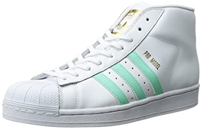 newest c3cce 1f3d2 adidas Originals Men s Pro Model Fashion Running Shoe, White Easy Green  Metallic Gold