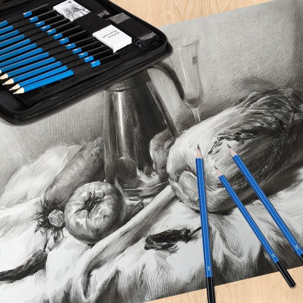 40pc Kit di disegno Professionali Set Disegno Arte Artista GRAFITE CARBONCINO MATITA
