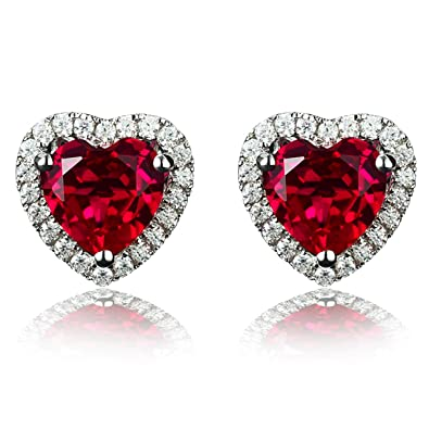 42ddd56d0 Navachi 925 Sterling Silver 18k White Gold Plated 4.5ct Heart Ruby Az9131e  Stud Earrings: Amazon.co.uk: Jewellery