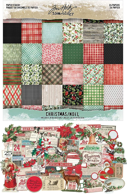 Tim Holtz Idea-Ology - 2020 Christmas Paper Stash Pad & Christmas Ephemera - Two Item Bundle